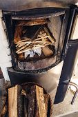 Composition, Firewood, Stove Items, Basket. A Real Fireplace Filled With Firewood. poster