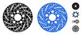 Brake Disk Composition Of Round Dots In Variable Sizes And Shades, Based On Brake Disk Icon. Vector  poster