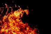 Fire On A Dark Background. Background From Fire. Fire Close Up. Background For Designers.wood Fire O poster
