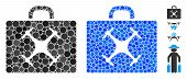 Drone Case Mosaic Of Filled Circles In Various Sizes And Shades, Based On Drone Case Icon. Vector Fi poster