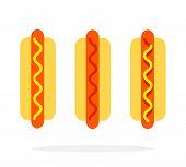 Hot Dog With Mustard Hot Dog With Ketchup Hot Dog With Mustard And Ketchup Vector Flat Isolated poster