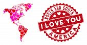 Valentine Collage South And North America Map And Corroded Stamp Seal With I Love You Caption. South poster