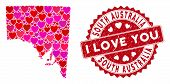 Love Collage South Australia Map And Grunge Stamp Seal With I Love You Caption. South Australia Map  poster