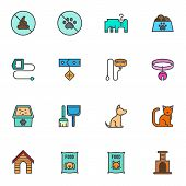 Pet Shop Filled Outline Icons Set, Line Vector Symbol Collection, Linear Colorful Pictogram Pack. Si poster