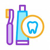 Toothbrush And Paste Icon Vector. Outline Toothbrush And Paste Sign. Isolated Contour Symbol Illustr poster