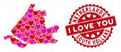 Love Collage South Holland Map And Rubber Stamp Watermark With I Love You Words. South Holland Map C poster