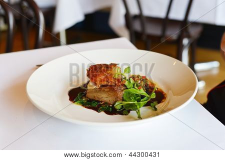 Pork belly With Celeriac Remoulade & Ravigote Dressing