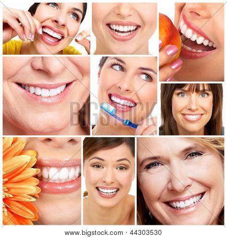 Colagem de sorriso e dentes de mulher bonita. Saúde dental.