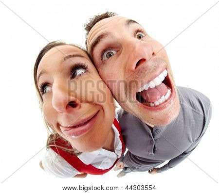 Funny people portrait fisheye caricature. Isolated on white background.