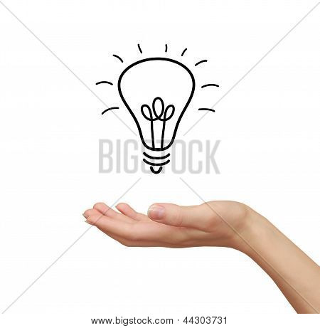 Idea Bulb In Woman Hand Holding Isolated On White Background
