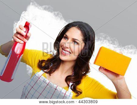 Joven ama de casa sonriente. Fondo de las tareas domésticas.