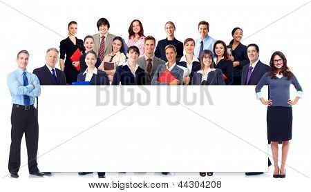 Business people team with banner. Isolated over white background.