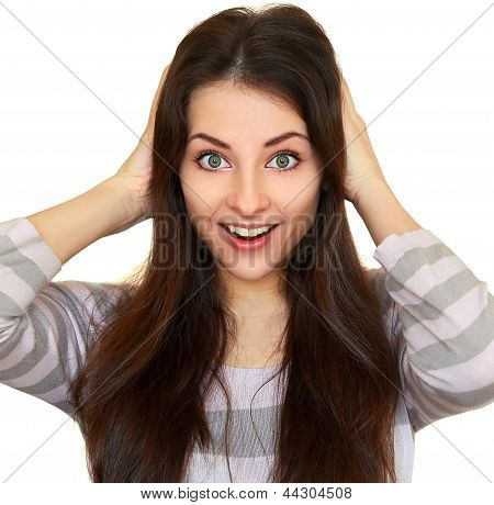 Surprising Fun Woman With Opened Mouth And Big Eyes Holding Head Isolated