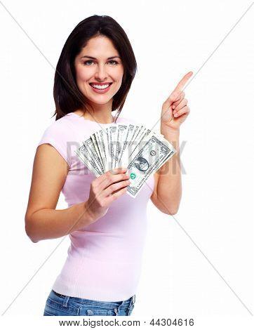 Mujer feliz con dinero. Aislado sobre fondo blanco.