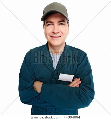 Professional Auto mechanic. Isolated on white background.