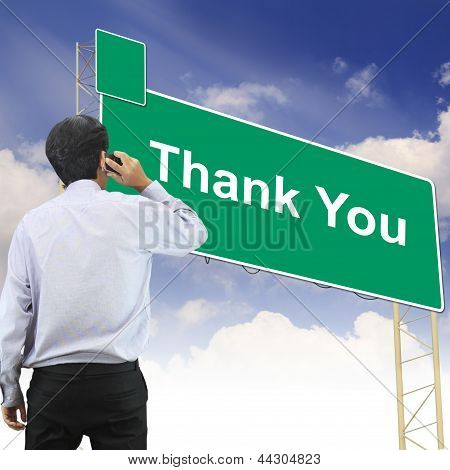 Road Sign Concept With The Text Thank You