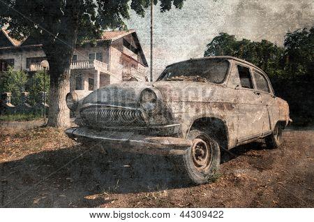 Old vintage car, grunge postcard