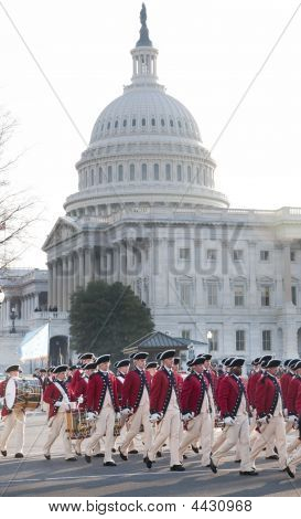Colonial Troops Parade At U.s. Capitol
