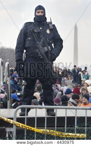 Police With Big Gun At Obama Inauguration