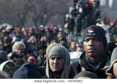 Unity: White And Black Men In Obama Inauguration Crowd
