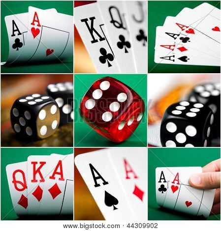 set of different actions with cards and dice in casino