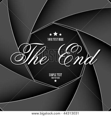 Ilustración de pantalla de The End en telón de fondo de equipos obturador