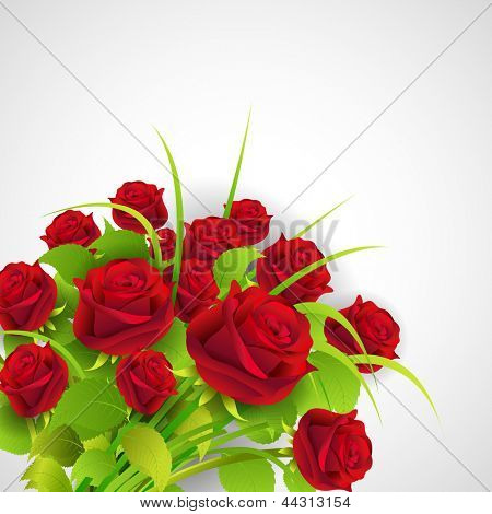 illustration of bunch of roses in a bouquet on abstract background