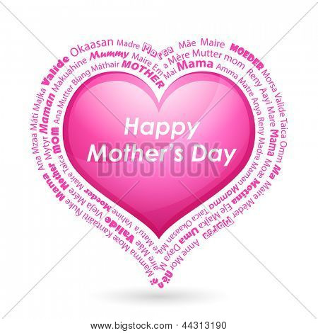 illustration of Happy Mother's Day background with heart and mother in different language