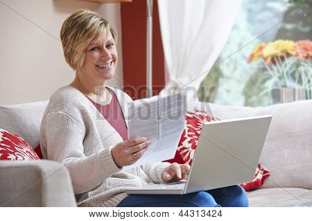 Woman Doing Home Banking