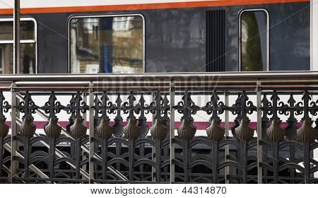 Handrail Of A Train Station