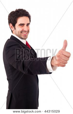 Happy smiling young business man with thumbs up gesture, isolated over white background