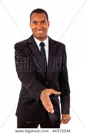 Portrait of an African American business man with an open hand ready to seal a deal, isolated on white