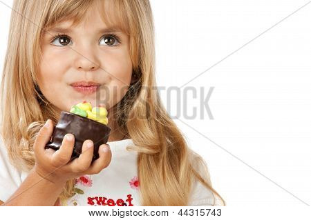 Funny Little Girl With Cake