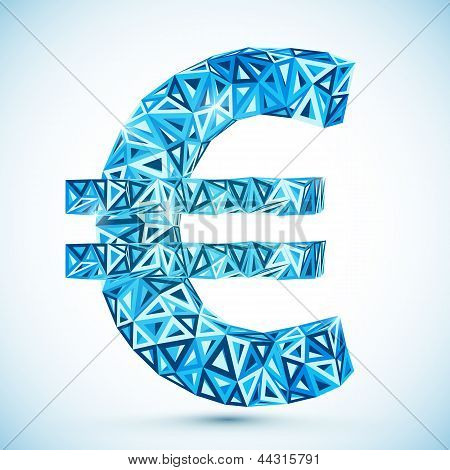 Blue abstract triangles vector euro symbol