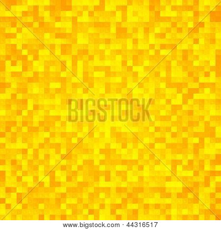 Abstract yellow pixel mosaic seamless background