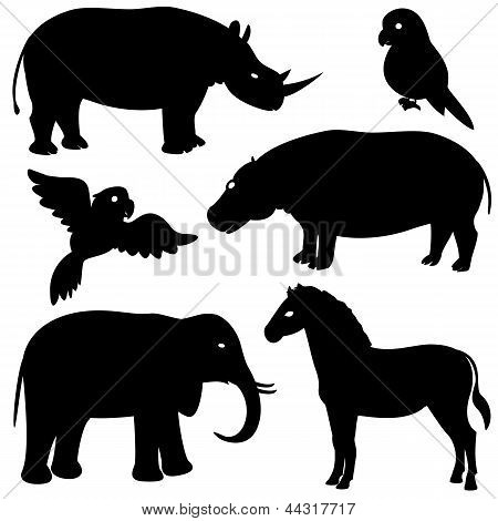 Set 1 of african animals silhouettes