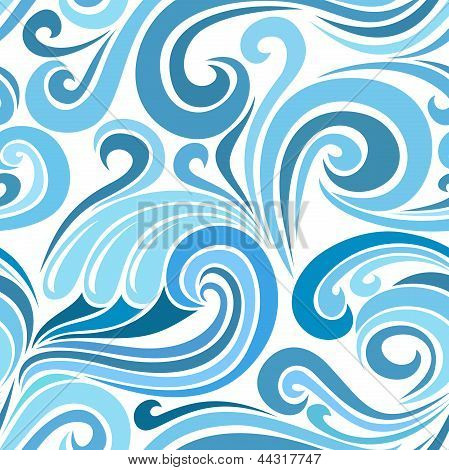 Seamless abstract pattern with sea waves. Vector illustration.