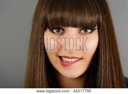 Portrait Of A Beautiful Woman Biting Her Lip Sensual