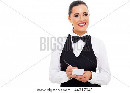 friendly waitress taking customer order with notepad