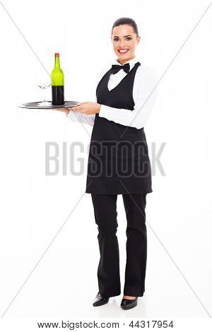 pretty waitress sommelier with tray of wine and glass