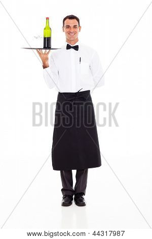 handsome wine steward with tray of wine and glass