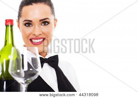 attractive young waitress holding wine and glass