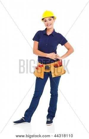 pretty female builder full length portrait on white background