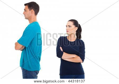young couple having a dispute on white background