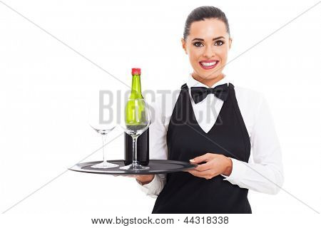 pretty waitress holding tray of wine and glass