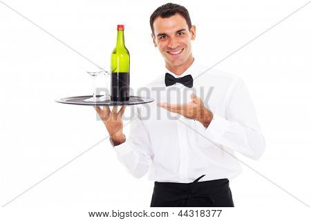 happy waiter holding tray of wine and glass