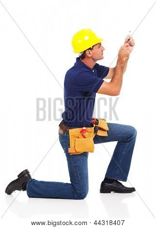 handyman working using screwdriver over white background