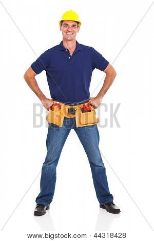handsome handyman wearing tool belt and helmet over white background