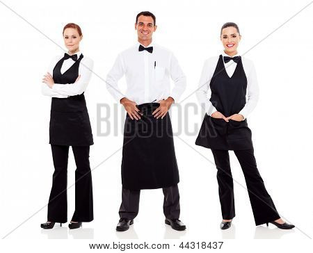 group of waiter and waitress full length portrait on white