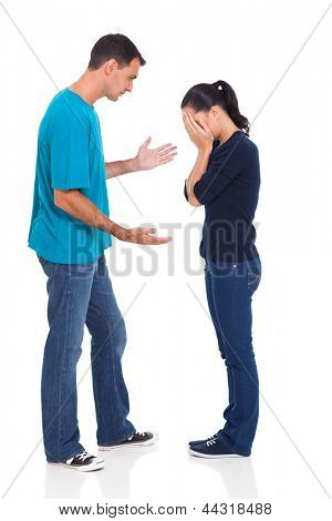 arguing young married couple over white background